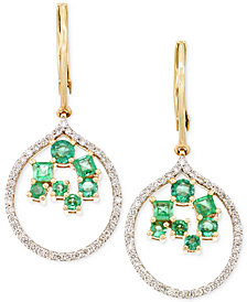 RARE Featuring GEMFIELDS Certified Emerald (7/8 ct. t.w.) and Diamond (3/8 ct. t.w.) Scatter Drop Earrings in 14k Gold