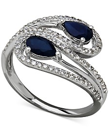 Sapphire (1 ct. t.w.) and Diamond (1/3 ct. t.w.) Bypass Ring in 14k White Gold