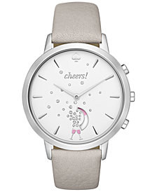 kate spade new york Women's Metro Grand Gray Leather Strap Hybrid Smart Watch 40mm KST23101