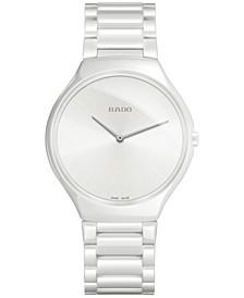 Unisex Swiss True Thinline White Ceramic Bracelet Watch 39mm R27957012