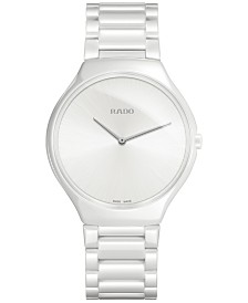 Rado Unisex Swiss True Thinline White Ceramic Bracelet Watch 39mm R27957012