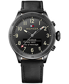 Tommy Hilfiger Men's Analog-Digital Black Leather Strap Smart Watch 46mm 1791301