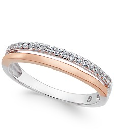 Diamond Two-Tone Band (1/8 ct. t.w.) in 14K White and Rose Gold, or 14K White Gold and Gold