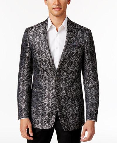Tallia Men's Big & Tall Black/Gray Floral Sport Coat
