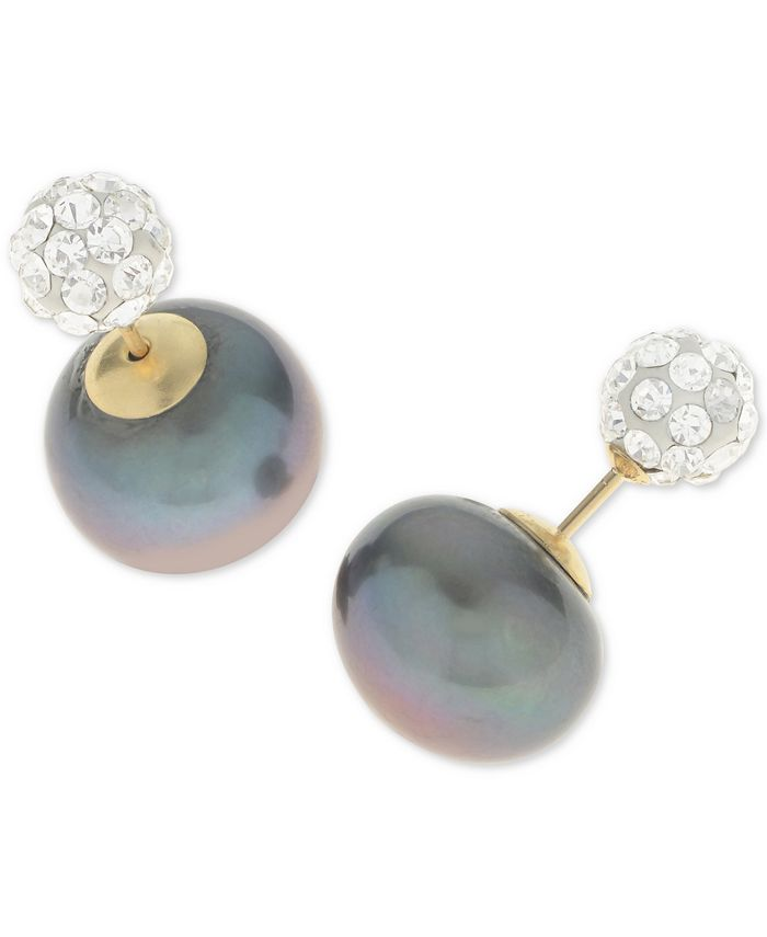 Macy's - Dyed Black Cultured Freshwater Pearl (11-12mm) and Pavé Ball Front and Back Earrings in 14k Gold