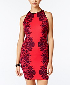 Juniors' High-Neck Bodycon Dress