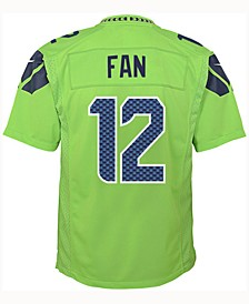 Fan #12 Seattle Seahawks Color Rush Jersey, Big Boys (8-20)
