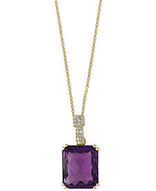 EFFY® Amethyst (4-3/4 ct. t.w.) and Diamond Accent Pendant Necklace in 14k Gold