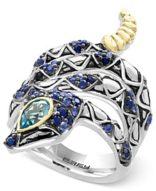 EFFY® Balissima Sapphire (7/8 ct. t.w.) and Blue Topaz (1/2 ct. t.w.) Snake Ring in Sterling Silver and 18k Gold