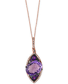 EFFY® Amethyst (5-3/4 ct. t.w.) and Diamond (1/6 ct. t.w.) Pendant Necklace in 14k Rose Gold