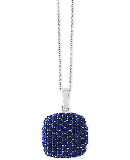 EFFY Collection EFFY® Balissima Sapphire Pavé Pendant Necklace (3-3/8 ct. t.w.) in Sterling Silver