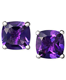 14k White Gold Earrings, Amethyst Cushion Studs (1-3/4 ct. t.w.)