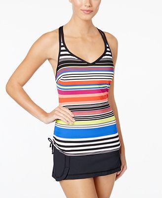 JAG Reactive Striped D-Cup Tankini Top & Mini Swim Skirt