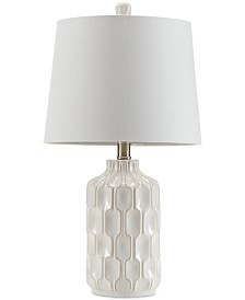 INK+IVY Contour Ivory Ceramic Glass Table Lamp