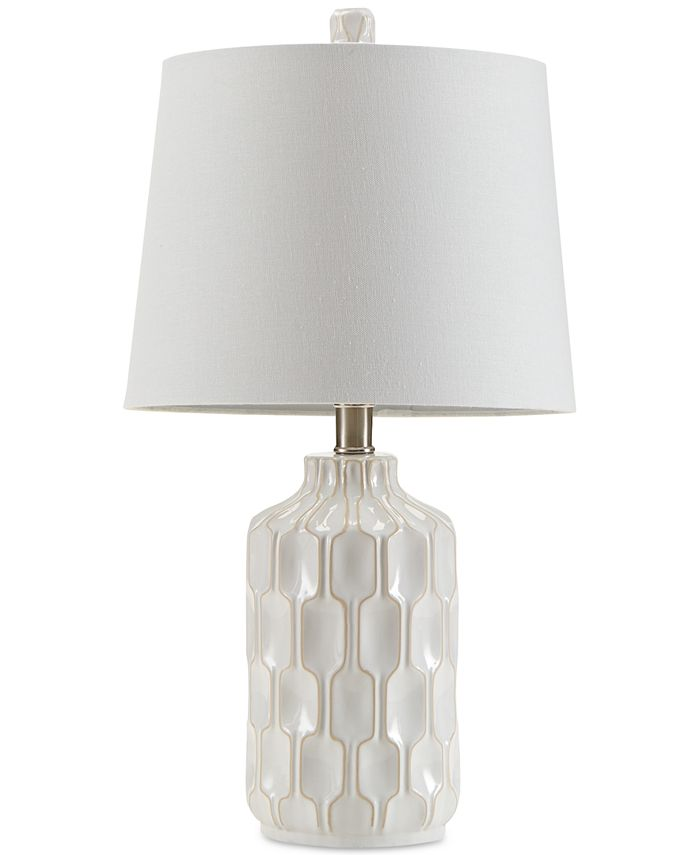 510 Design - Contour Ivory Ceramic Glass Table Lamp