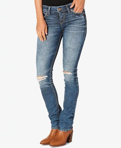Silver Jeans Co. Suki Ripped Indigo Wash Straight-Leg Jeans ...