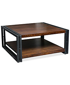 Hartlen Dark Oak Wood Coffee Table, Quick Ship