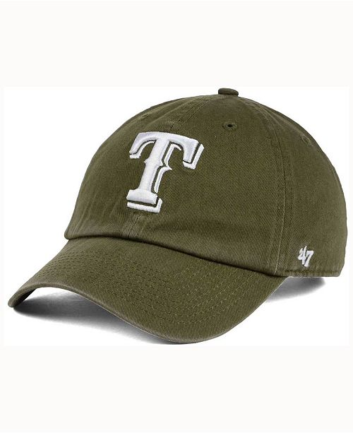 '47 Brand  Texas Rangers Olive White CLEAN UP Cap