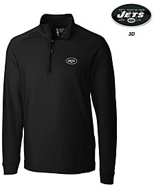 Cutter & Buck Men's New York Jets 3D Emblem Jackson Overknit Quarter-Zip Pullover