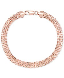Italian Gold Polished Bismark Link Bracelet in 14k Rose Gold