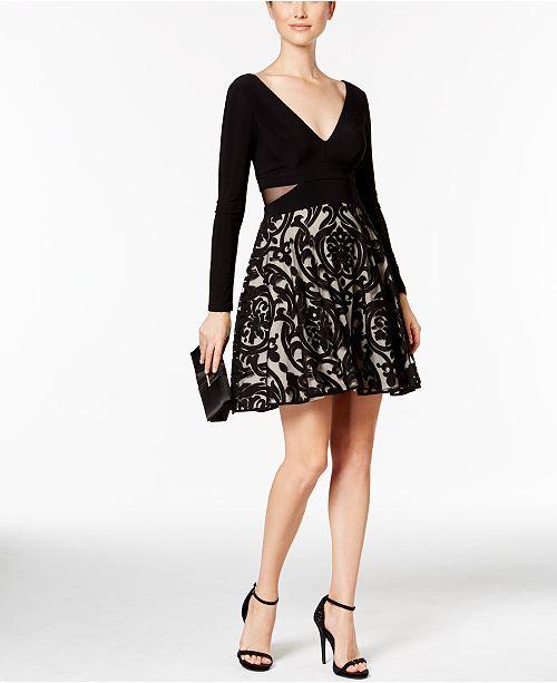 XSCAPE Double-V Damask Fit & Flare Dress