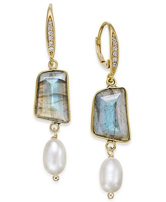 Paul & Pit� Naturally 14k Gold-Plated Pav� Colored Stone Imitation Pearl Drop Earrings