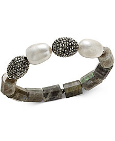 Paul & Pitü Naturally 14k Gold-Plated Crystal, Stone & Cultured Freshwater Pearl Stretch Bracelet