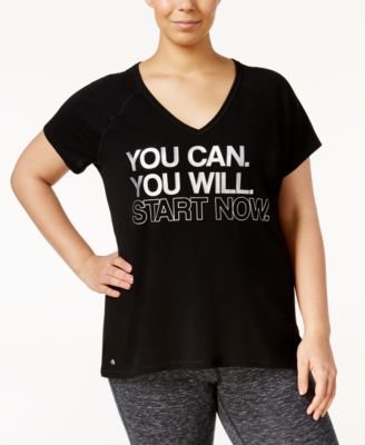 Ideology Plus Size Metallic Graphic T-Shirt, Only at Macy's