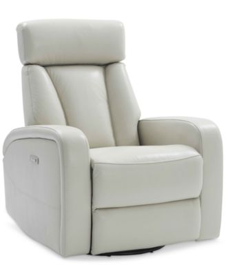 dasia leather swivel rocker power recliner with headrest and usb power outlet furniture - Swivel Rocker Chair