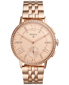 Fossil Q Women's Gazer Rose Gold-Tone Stainless Steel Bracelet Hybrid Smart Watch, 41MM FTW1106