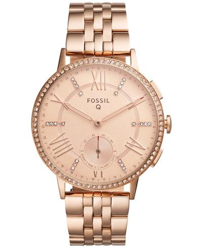 fossil q women 39 s gazer rose gold tone stainless steel bracelet hybrid smart watch 41mm ftw1106. Black Bedroom Furniture Sets. Home Design Ideas