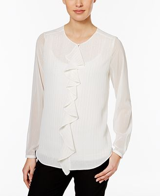 Tommy Hilfiger Sheer-Stripe Ruffle-Front Blouse