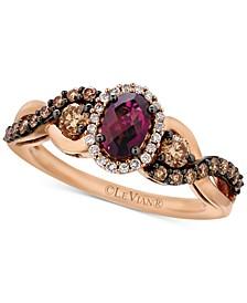 Chocolatier® Raspberry Rhodolite® Garnet (5/8 ct. t.w.) and Diamond (1/2 ct. t.w.) Twist Ring in 14k Rose Gold