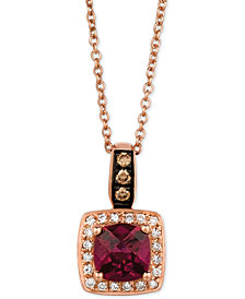 Le Vian Chocolatier® Raspberry Rhodolite® Garnet (9/10 ct. t.w.) and Diamond (1/8 ct. t.w.) Pendant Necklace in 14k Rose Gold