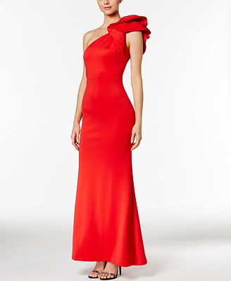 Betsy Amp Adam Ruffled One Shoulder Scuba Gown Dresses
