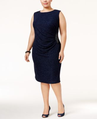 Betsy & Adam Plus Size Glitter Draped Dress