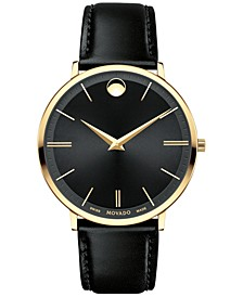 Men's Swiss Ultra Slim Black Leather Strap Watch 40mm 0607087