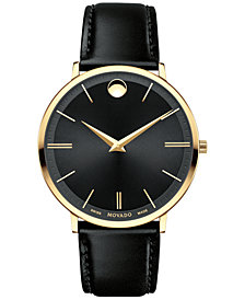 Movado Men's Swiss Ultra Slim Black Leather Strap Watch 40mm 0607087