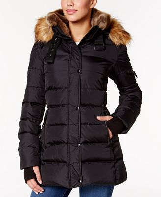 S13 Faux-Fur-Trim Shimmer Down Puffer Coat