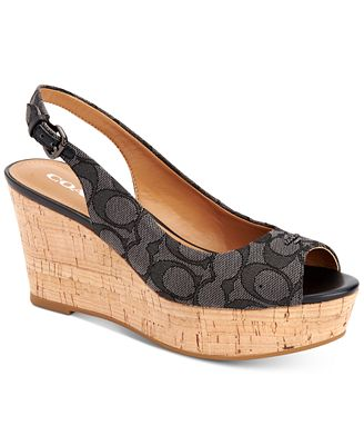 COACH Ferry Logo Wedge Sandals