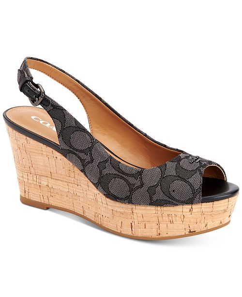 f77ead23fd2 COACH Ferry Logo Wedge Sandals   Reviews - Sandals   Flip Flops ...