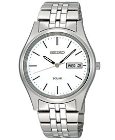 Seiko Watch, Men's Solar Stainless Steel Bracelet 37mm SNE031