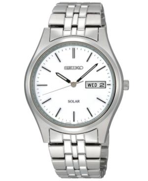 Seiko Watch, Men's Solar Stainless Steel Bracelet 37mm SNE031