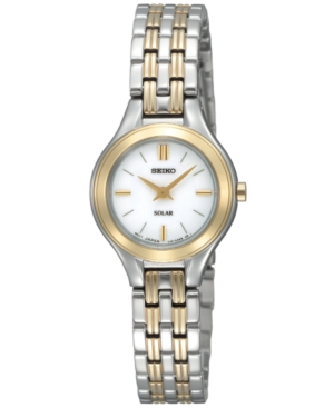 Seiko Watch, Women's Solar Two Tone Bracelet 22mm SUP004