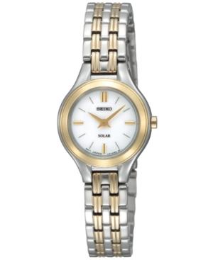 Seiko Watch, Women's Solar Two Tone Bracelet 22mm SUP004