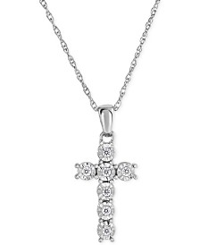Diamond Cross Pendant Necklace (1/10 ct. t.w.) in Sterling Silver