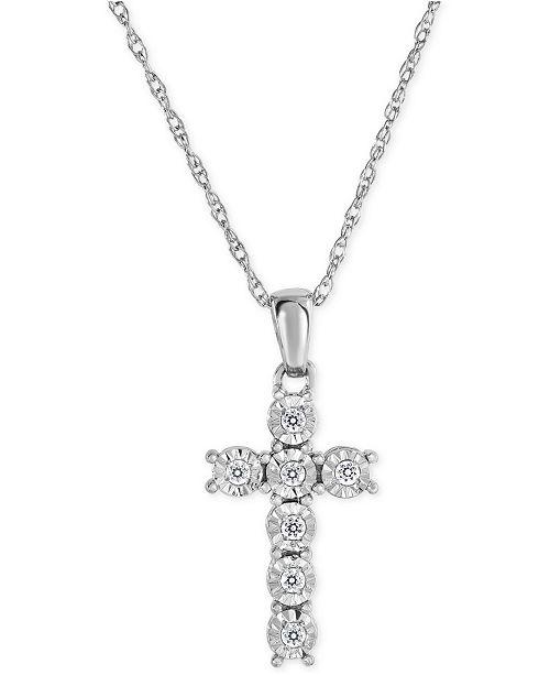 Macy's Diamond Cross Pendant Necklace (1/10 ct. t.w.) in Sterling Silver