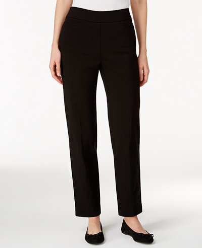 Alfred Dunner Petite Tummy-Control Pull-On Straight-Leg Pants