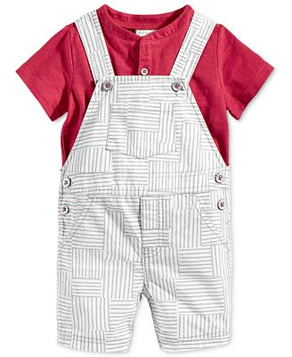 First Impressions 2-Pc. T-Shirt & Patchwork Shortall Set, Baby Boys (0-24 months), Only at Macy's