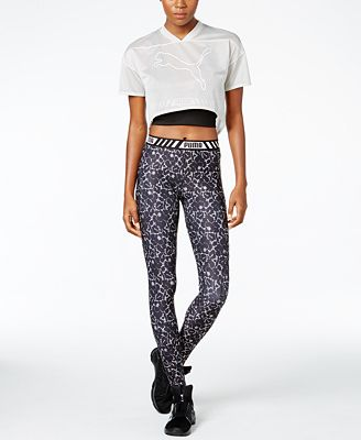 Puma dryCELL Cropped T-Shirt, Cropped Racerback Top & Printed Leggings